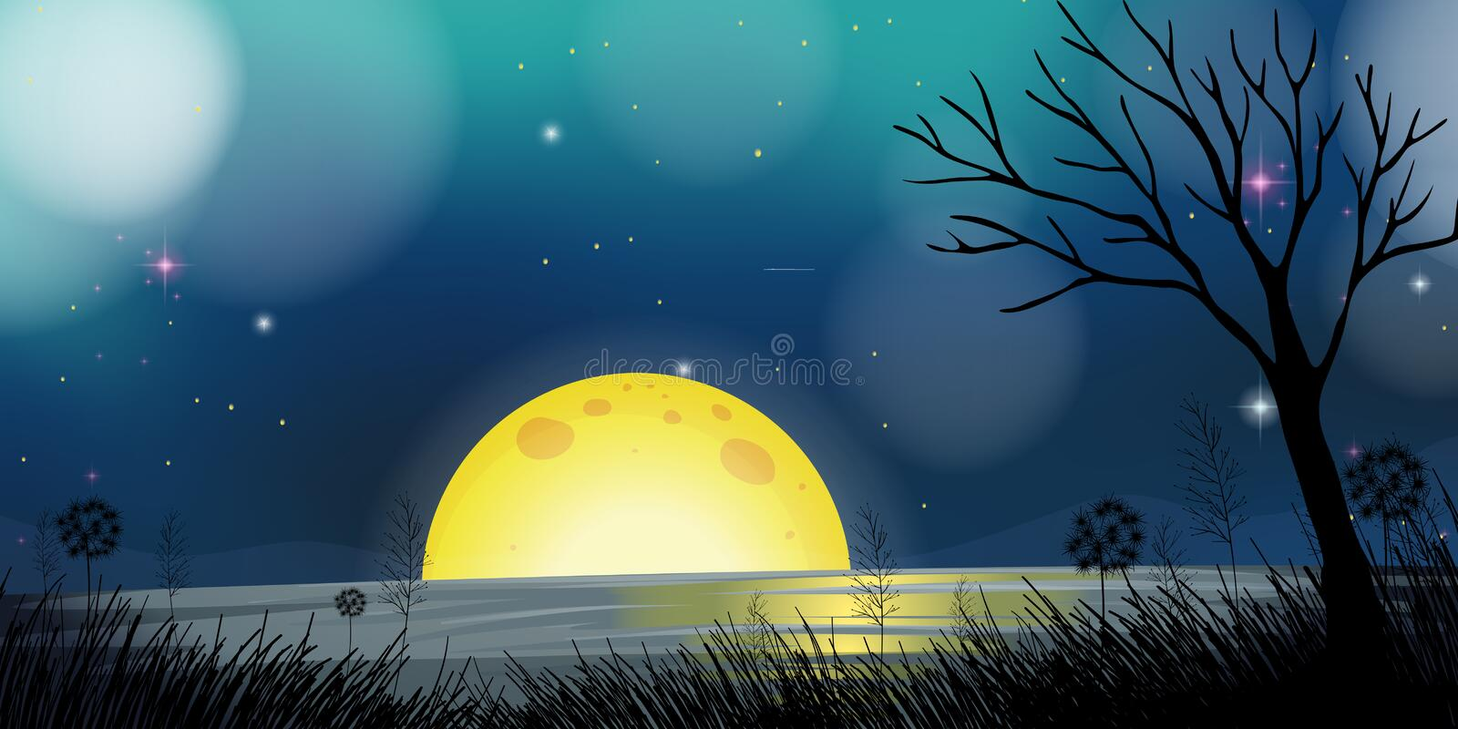 Night scene with moon and lake stock illustration