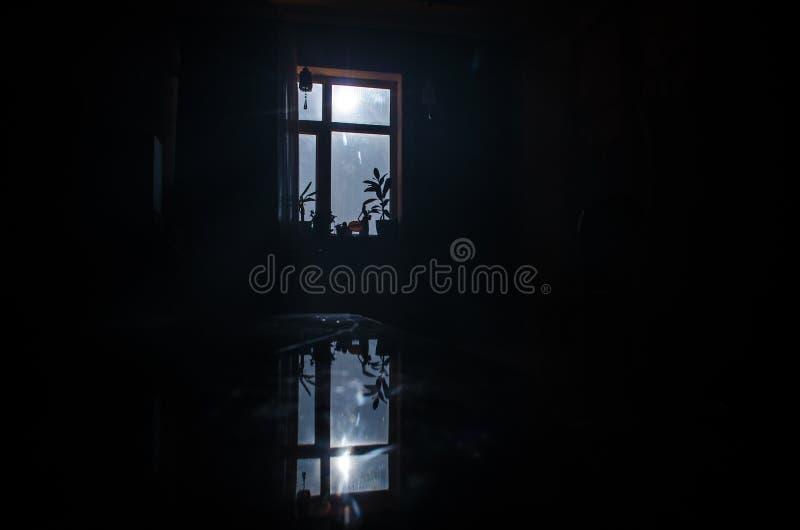 Download Night Scene Of Moon Seen Through The Window From Dark Room Stock Photo - Image: 91026947