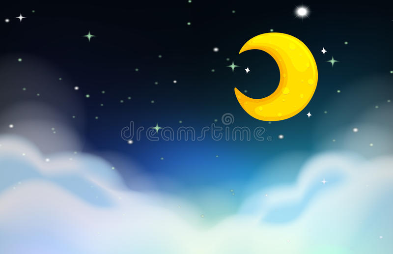 Night scene with moon and stars vector illustration