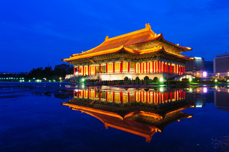 Night scene of National Theater and Concert Hall. Taipei, Taiwan royalty free stock photo