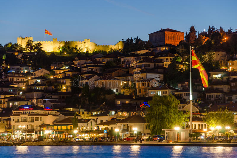 Night scene of Ohrid, Macedonia. Night scenery of town of Ohrid with Macedonian flag and Samuel fortress. The town of Ohrid is popular destination for leisure stock photos