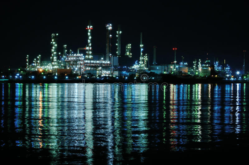 Night scene of Oil refinery. Bangkok, Thailand stock photos