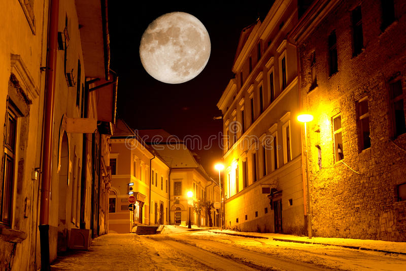 Night scene in old city stock photo