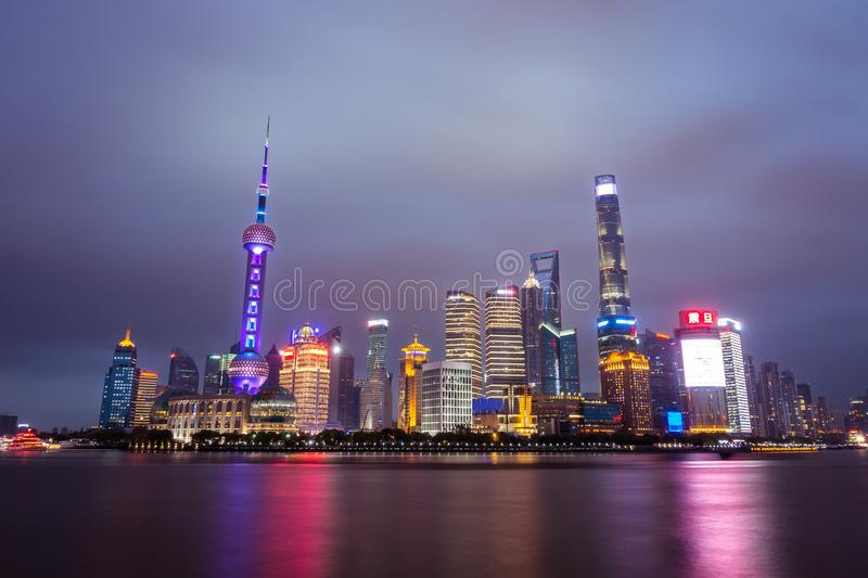 Night Scene of The Oriental Pearl Tower in Shanghai,China April royalty free stock photography