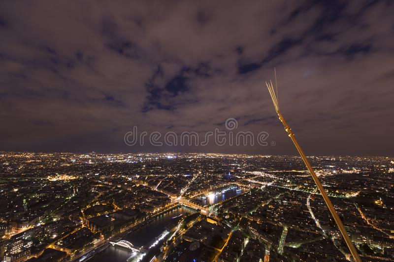 Night scene of Paris cityscape stock images