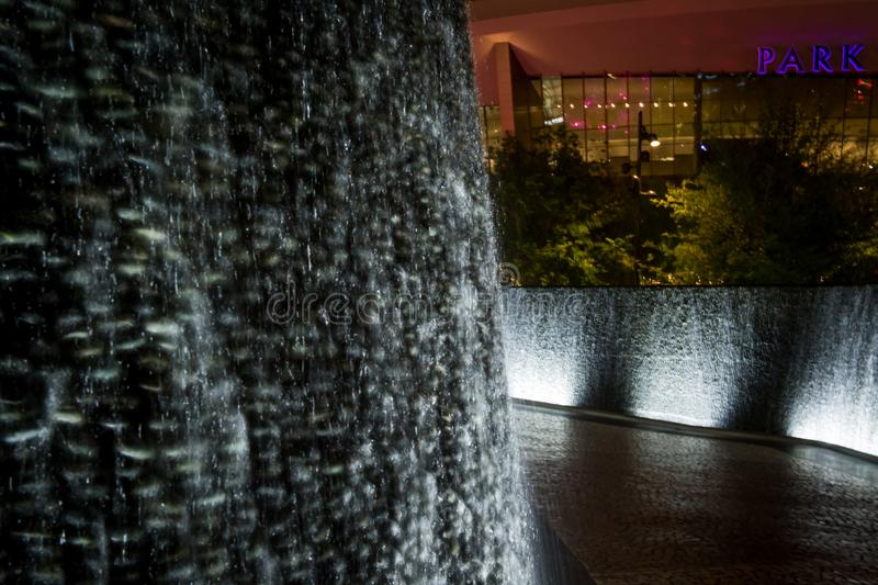 Night scene from The Park Water Wall from Las Vegas. Gorgeous route to walk along the strip. Beautiful fountains. Walk through at nighttime for bonus neon stock photos