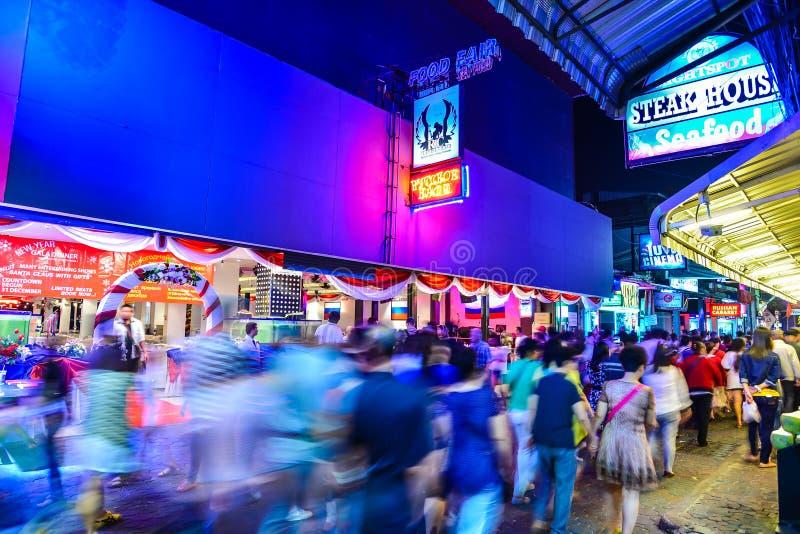 Night scene in Pattaya in Thailand stock photo