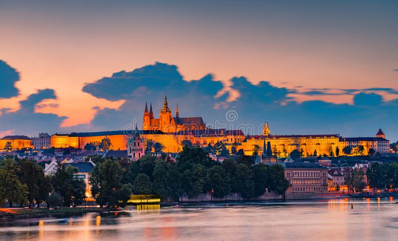 Night scene of Prague Castle. The sunset of Prague Castle with St. Vitus Cathedral and St. George church, Bohemia landmark in Prague, Czech royalty free stock photo