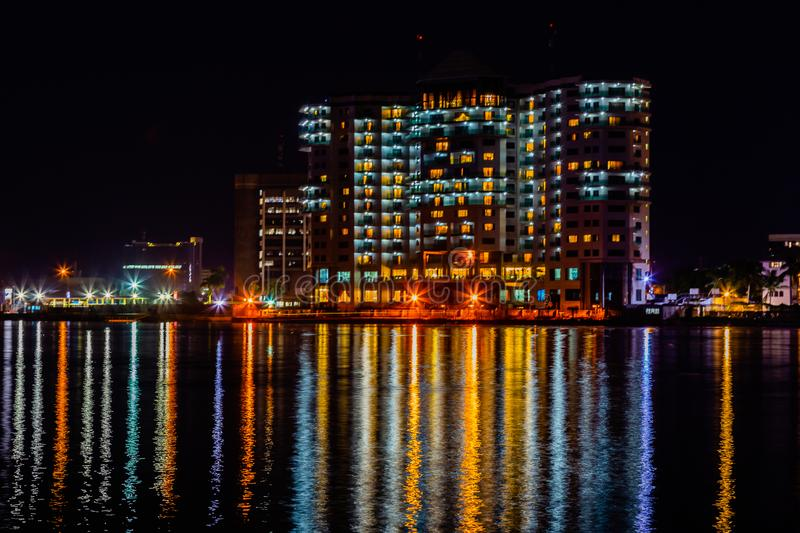 Night scene Residential Mobil flats Victoria island. The back view of residential block Maroko road  Ozumba Mbadiwe road and Five Cowries Creek Lagos Nigeria at stock photography