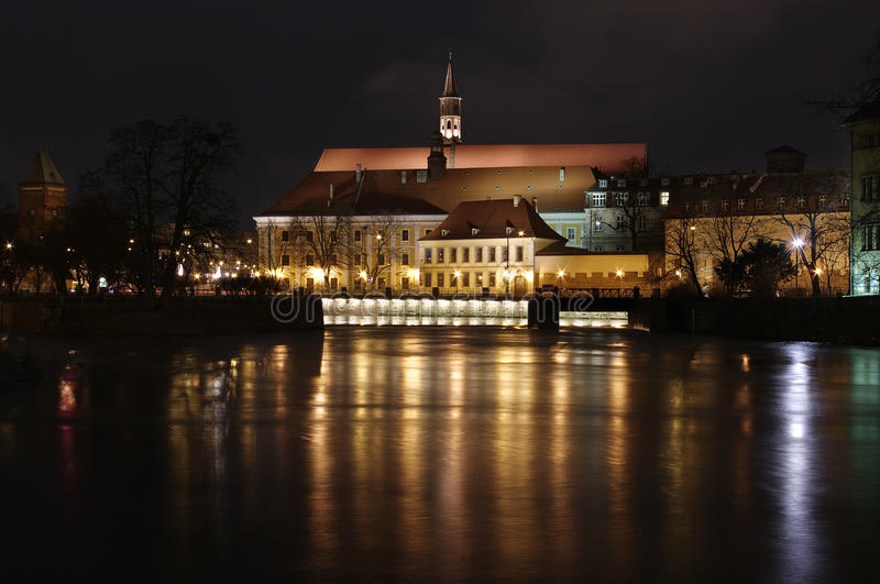 Night scene with river royalty free stock image