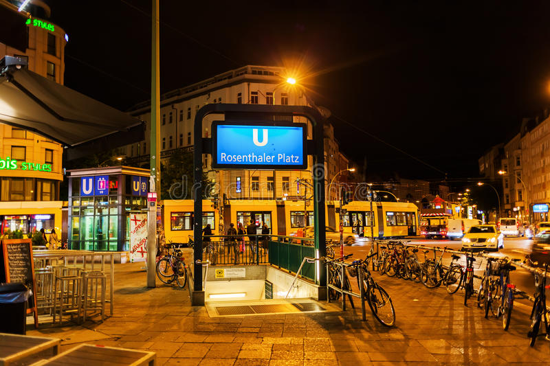 Night scene at Rosenthaler Square in Berlin, Germany. Berlin, Germany - May 17, 2016: night scene at Rosenthaler Square. Berlin, the capital of Germany, has royalty free stock photography
