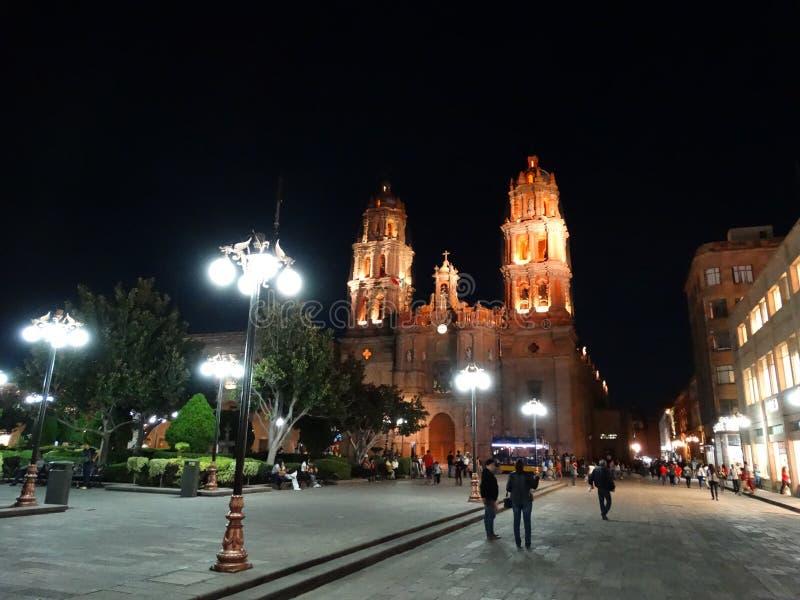 Night scene at San Luís Potosí Downtown royalty free stock image