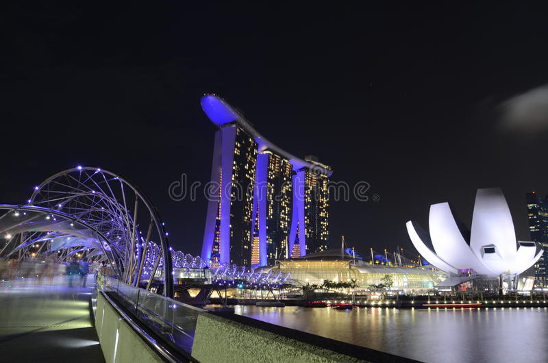 Night scene in Singapore Marina Bay royalty free stock photos