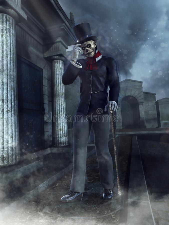 Zombie gentleman at a cemetary. Night scene with a spooky zombie gentleman in a Victorian outfit at a cemetery royalty free illustration