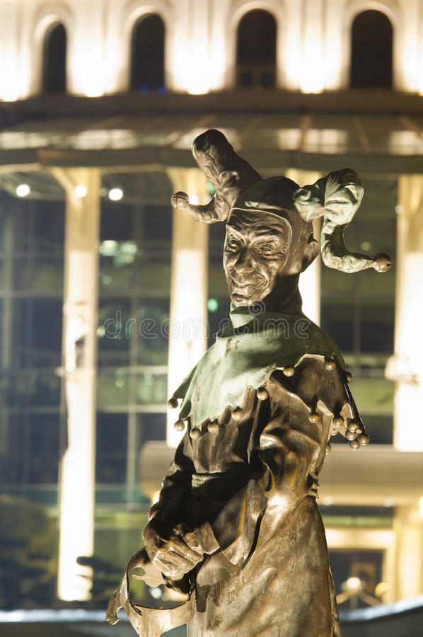 Night scene of statue at National Theatre of Budapest. Hungary stock photo
