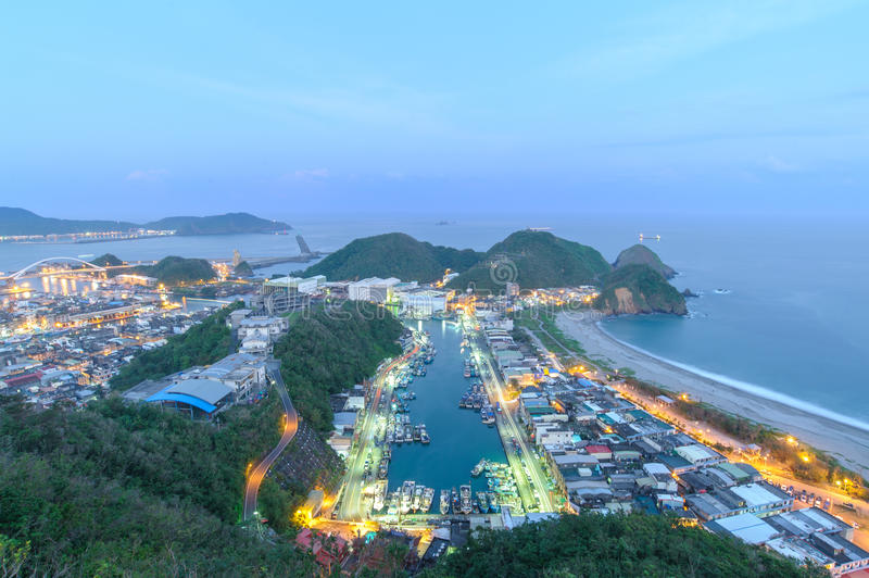 Night scene of Suao Harbor in Taiwan royalty free stock image