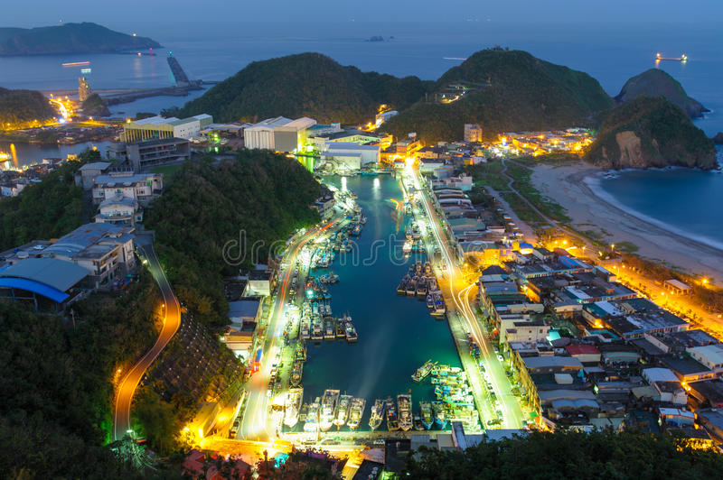 Night scene of Suao Harbor in Taiwan stock images