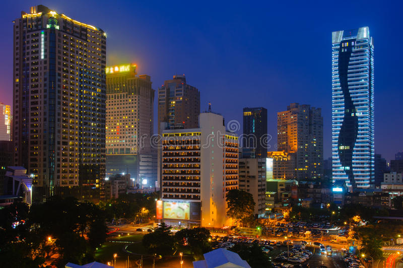 Night scene of Taichung, Taiwan. Skyline of Taichung, Taiwan at night stock image