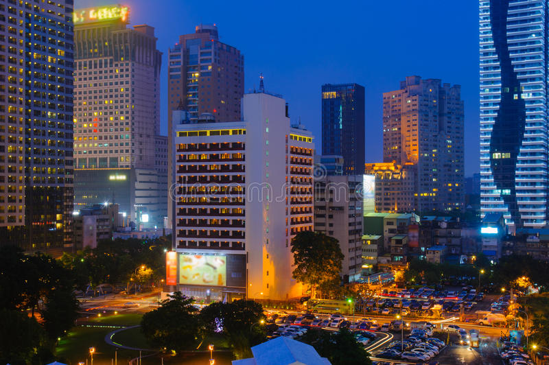 Night scene of Taichung, Taiwan. Skyline of Taichung, Taiwan at night stock photography