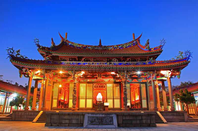 Night Scene of Taipei Confucius Temple in Taiwan royalty free stock photo