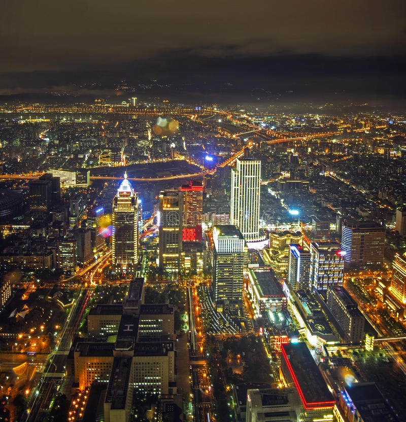 Night scene of Taipei (Tai Bei, Taiwan) stock photos