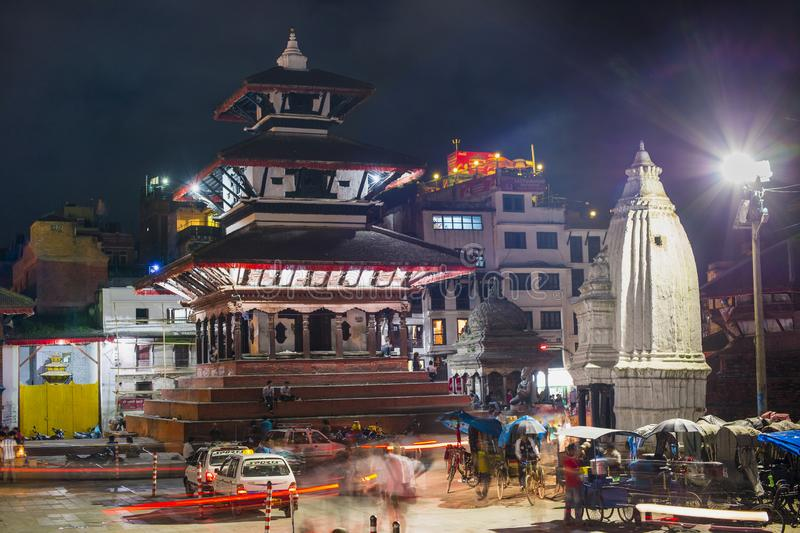 Night scene of Temples in Durbar Square in 2014 , Kathmandu , Nepal royalty free stock photos