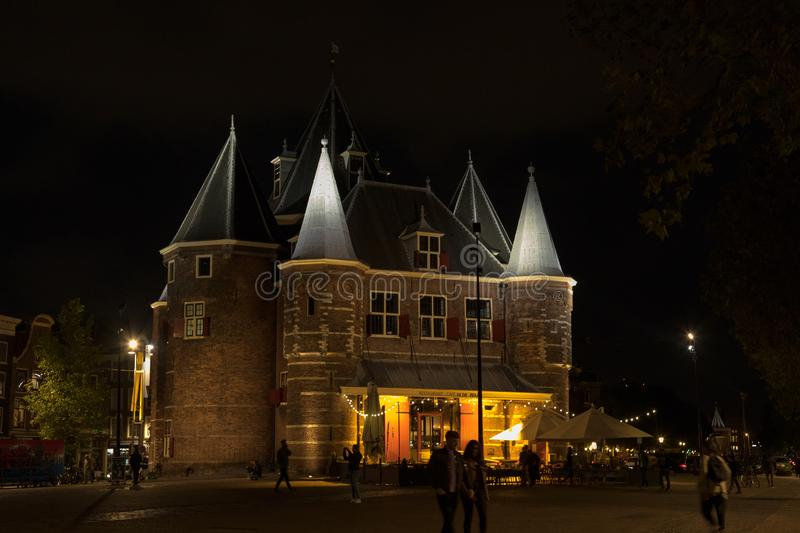 Old Castle Restaurant in central Amsterdam royalty free stock photos