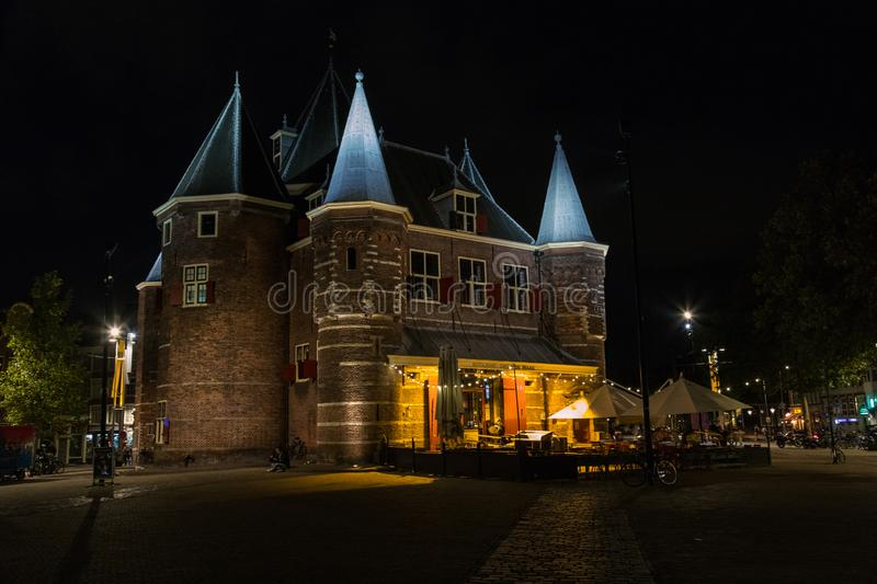 Old Castle Restaurant in central Amsterdam stock photo