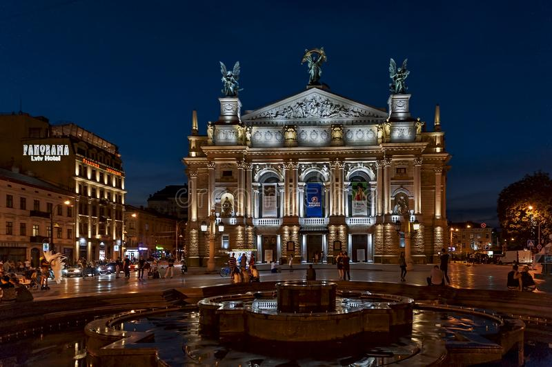 Night scene to Lviv State Academic Theatre of Opera and Ballet or Lviv Opera in Lv. Night scene to Solomiya Krushelnytska Lviv State Academic Theatre of Opera stock photography