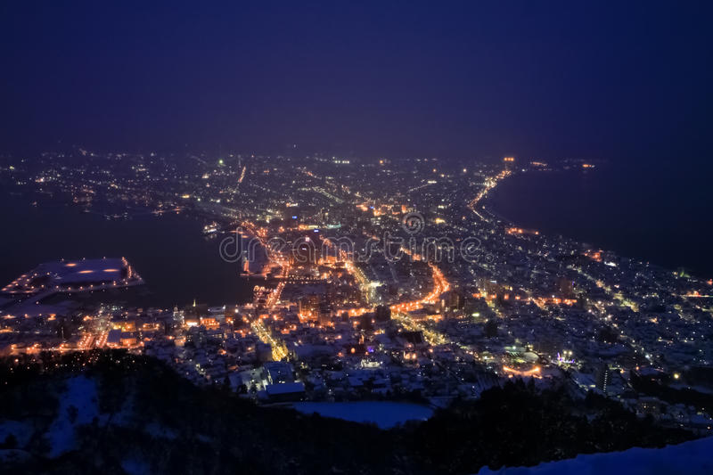 Night scene in top view point. In winter season of Hakodate town royalty free stock photo