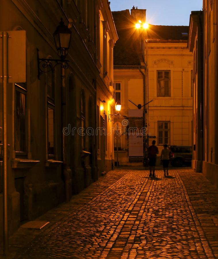 Night scene in the town, budapest, hungary stock photo