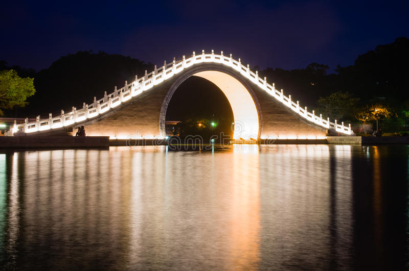 Night scene of a traditional bridge in Taipei royalty free stock image
