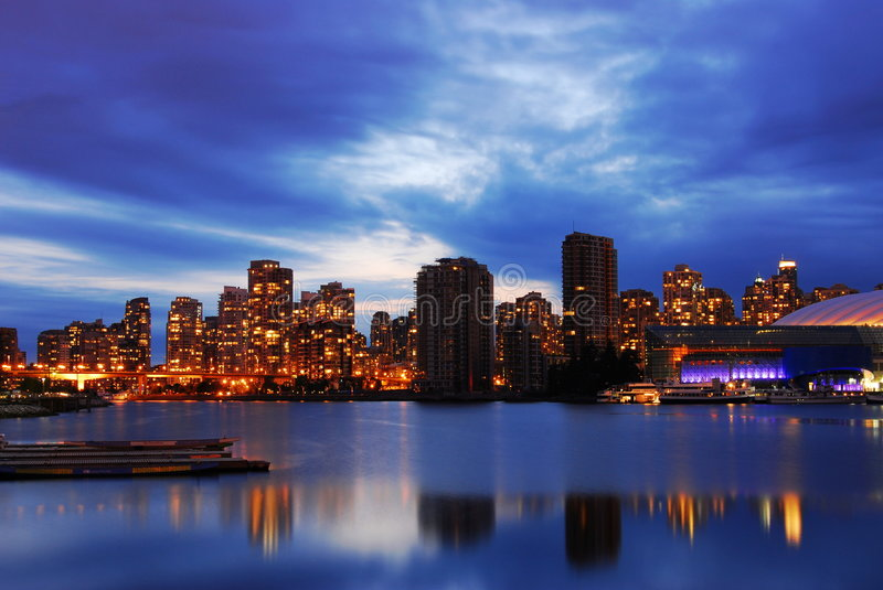 Night scene of vancouver. Night scene of modern buildings in vancouver downtown, british columbia, canada stock photography