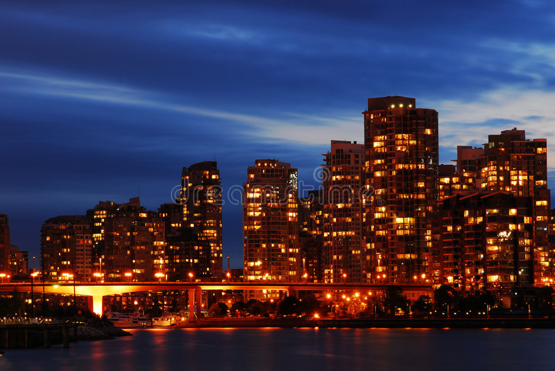 Night scene of vancouver downtown royalty free stock photos