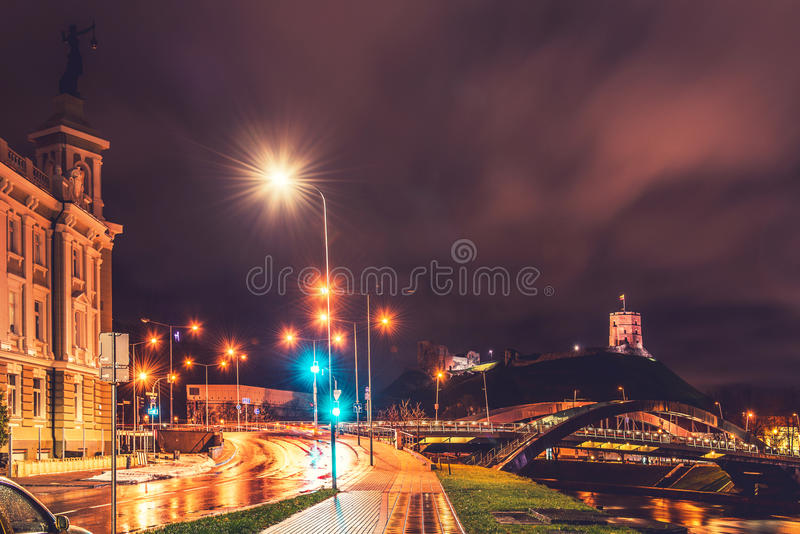 Night scene of Vilnius royalty free stock photography