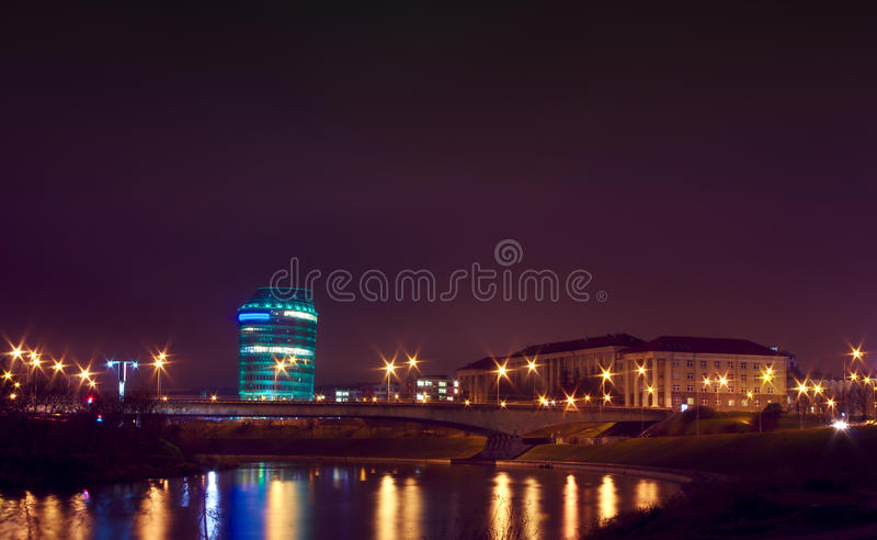Night scene of Vilnius, university and Barclay royalty free stock photos