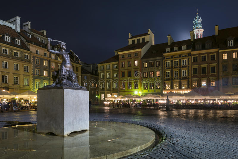 Download Night Scene Of Warsaw Mermaid Monument Stock Photo - Image: 26790026