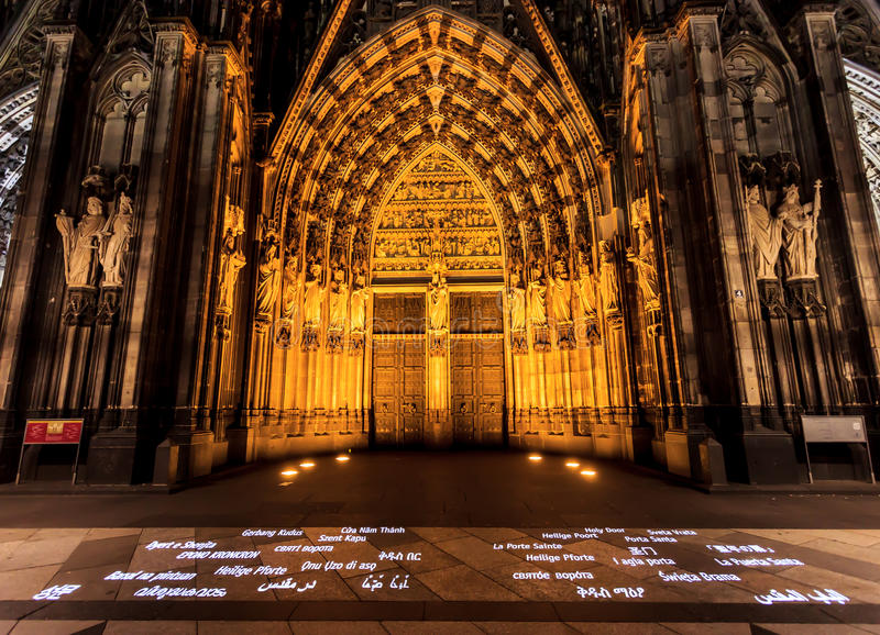 The night scene of the west entrance of the Cologne Cathedral, North Rhine-Westphalia, Cologne, Germany, Europe stock images