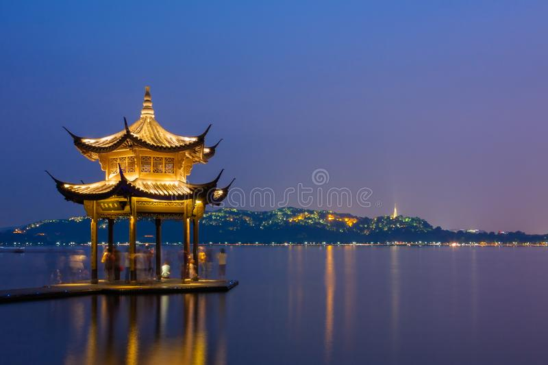 Night scene of west lake in hangzhou royalty free stock photography