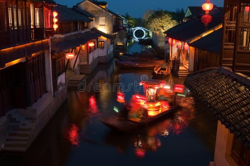 Night scene in Zhouzhuang stock images