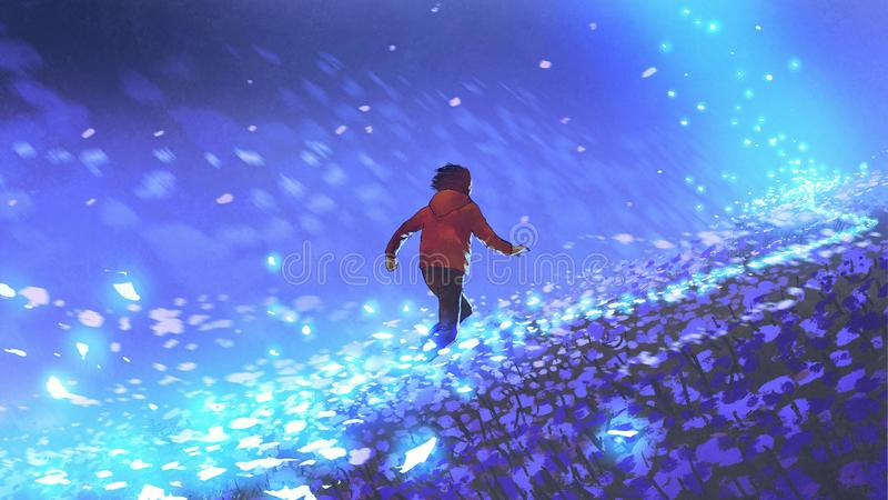 Running on the blue meadow. Night scenery of the boy running on blue meadow with glowing petal of flowers, digital art style, illustration painting vector illustration