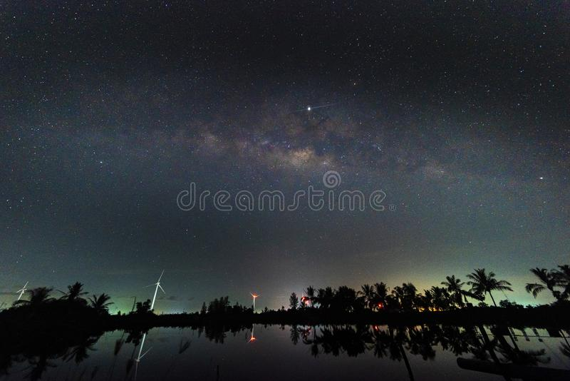 Night scenery with colorful and light yellow Milky Way Full of stars in the sky in summer Beautiful universe Background of space. Night scenery with colorful and stock image