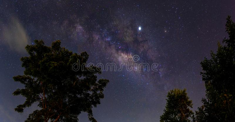 Night scenery with colorful and light yellow Milky Way Full of stars in the sky in summer Beautiful universe Background of space. Night scenery with colorful and stock images
