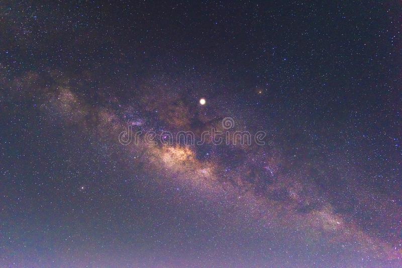 Night scenery with colorful and light yellow Milky Way Full of stars in the sky in summer Beautiful universe Background of space. Night scenery  with colorful royalty free stock photography