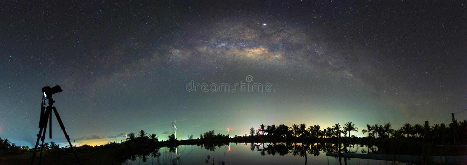 Night scenery with colorful and light yellow Milky Way Full of stars in the sky in summer Beautiful universe Background of space. Night scenery with colorful and stock photos