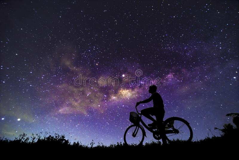 Night scenery with colorful  and light yellow Milky Way Full of stars in the sky in summer Beautiful universe Background of. Night scenery with colorful and royalty free stock images