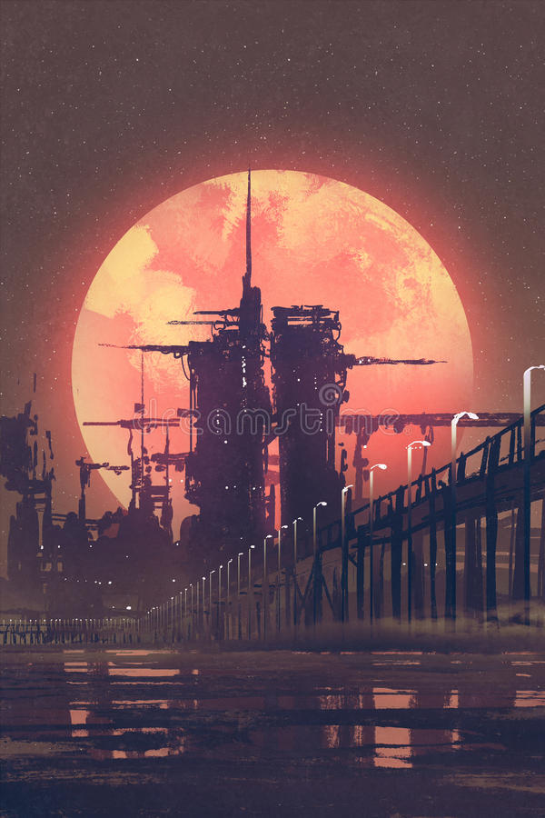 Night scenery of futuristic city with red planet on background, royalty free illustration
