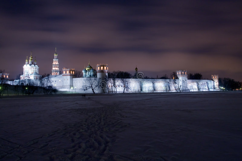 Night scenery of Novodevichiy monastery royalty free stock image