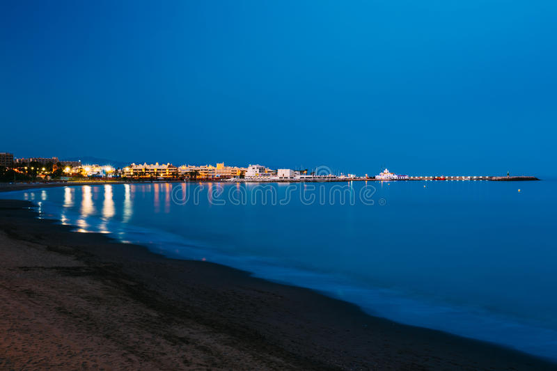 Night Scenery View Of Embankment, Seacoast, Beach. In Benalmadena. Benalmadena is a town in Andalusia in Spain, 12 km west of Malaga, on the Costa del Sol. It stock image