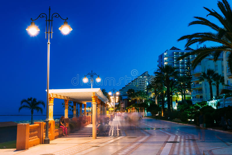 Night Scenery View Of Embankment, Seacoast, Beach stock images